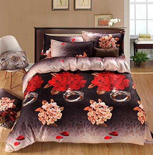 Rose Queen Tröster (3D Bettwäsche-Set Home Textile 4Piece rot Rose Ring Muster Bettbezug Tröster Set Bettwäsche Double Größe)