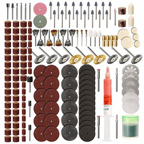 wishfive 217pcs Rotary Werkzeug Zubehör Set Schleifhülsen Schleifen Schleifen Polieren Werkzeug für Dremel (Messing-schrauben Mit Holz 8 X 1 2)
