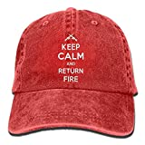 Keep Calm and Return Fire Plain Adjustable Cowboy Cap Denim Hat for Women and Men
