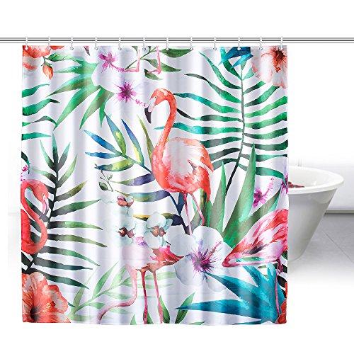 ZeWoo Flamingos Duschvorhang aus Stoff mit 12 Duschvorhangringe | wasserdichter Duschvorhang mit verstärktem Saum | waschbarer Textil Duschvorhang in der Größe 180x180cm (Flamingo 3) (Flamingo Duschvorhang)