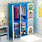 Koossy Erweiterbares Kinderregal Kinder Kleiderschrank Bücherregal 12 Fächer Spielzeugschrank für