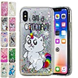 E-Mandala Coque Apple iPhone XR Paillette Liquide Brillante Chat Licorne Silicone Gel Housse Etui Case Cover Transparente avec Motif Dessin Bumper Antichoc