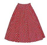 Damen Winter Herbst 1950er Jahr Röcke Vintage Rockabilly Swing Faltenrock Knielang XL Rot Dot