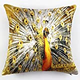 LHWY Peacock Pillow Case Sofa Waist Throw Cushion Cover Home Decor (G)