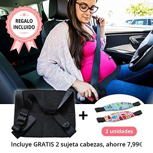 Tillmann's® Cinturon Embarazada Coche Con 2 Sujeta Cabezas De Regalo - Cinturon Embarazo - Cinturón Seguridad Embarazada - Adaptador Cinturón Embarazada