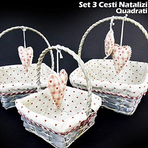 Bakaji set 3 cestini natalizi quadrati in vimini e tessuto diametro 38/33/28 cm grigio con cuori a pendolo