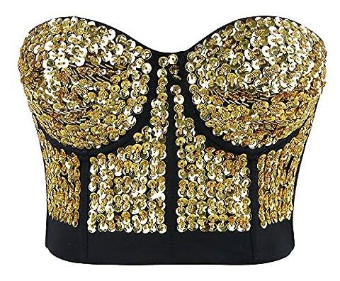 Charmian Women's Burlesque Fashion Beaded Sequins Push Up Crop Top Bustier Bra Gold Medium