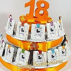 Idea Regalo - TORTA BOMBONIERE PORTAFOTO 18 anni compleanno misti pois ragazzo (Torta da 12 fette)