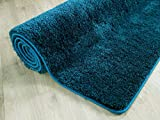 Palace Hochflor Shaggy Teppich Petrol Grün Blau in 24 Größen