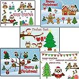 Eulen Eule 50 Stk Weihnachtskarten nostalgisch Weihnachtspostkarten gemischt verschiedene Motive 10 Stück je Motiv Postkarten Weihnachten Karten Tannebaum Set DIN A 6 15x10 Nostalgie modern Kinder