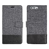 Huawei Honor 9 Etui portefeuille sac en simili-cuir textile couverture Téléphone cas pour les cartes de visite et encore fonction (GRIS)