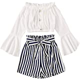 Girls/Kids Western Style Striped Print TOP & Shorts(N.BLLUE&White)