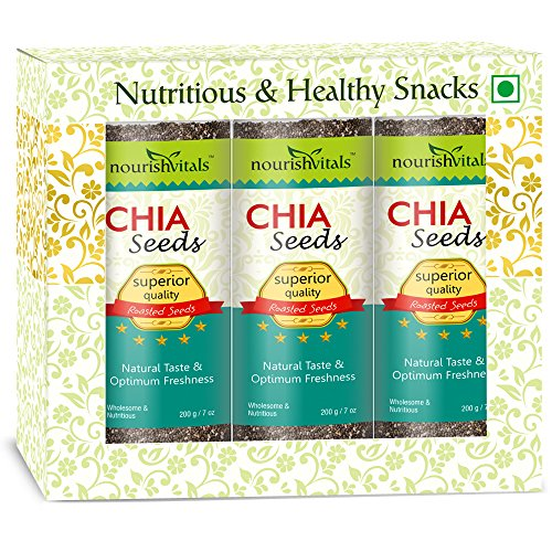 Nourish Vitals Roasted Chia Seeds (Superior Quality) - 200 gm - Pack Of 3  available at amazon for Rs.1145