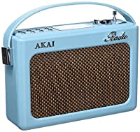 Akai A60015BLN Vintage Retro Radio AM/FM, Alarm Clock with LCD Screen and Snooze Function, Compatible with SD Card/USB/AUX - Blue