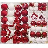 Valery Madelyn 60 Teile 3-20cm Kunststoff Weihnachtskugeln Rot Weiß Lieber Weihnachtsmann Thema mit Christbaumkugeln, Weihnachtsbaumspitze und passende Aufhänger Weihnachtsdekoration