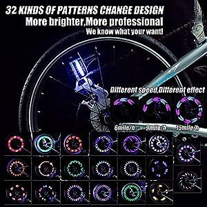 Bicicleta de Rueda LED Impermeable 14 Coloridas LED Rayos Luz de Bicicleta Nocturna Ultra Brillante Luces de Bicicleta 32 Cambios de Color Diferentes