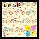 ArtzFolio Bicycles & Pink Hearts Printed Bulletin Board Notice Pin Board cum Black Framed Painting 16 x 16inch