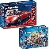 Playmobil City Action 2-tlg. Set 3911 6878 Porsche 911 Carrera S + Polizei-Straßensperre