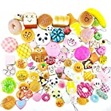 Pizies 30 Pcs Soft Squishy Toys,Cute Phone Charms,Kawaii Bag Pendants(Panda/Cake/Bread/Buns)