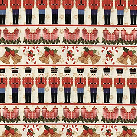 NUTCRACKER - Cream Coordination from Fabric Freedom – 100% Cotton British Designed Craft Fabrics for Patchwork and Quilting Co-ordinated Colours and Prints – (Price per /QUARTER Metre) (Cream / Candy Cane)