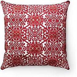 Funda de cojín marroquí de lujo con diseño geométrico de jacquard chenilla – rojo y oro amarillo – 45,7 x 45,7 cm