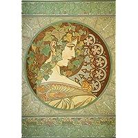 2 Alphonse Mucha Art Nouveau 'laurel y Ivy' - Note papel de tarjetas de felicitación, cualquier ocasión 21 x 14,5 cm Protector de celofán, con sobre