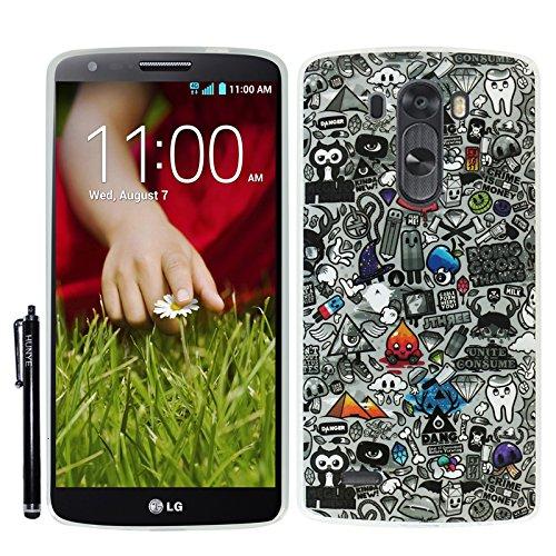 Hunye TPU Gummi Schutzhülle Tasche für LG G3 Hülle Case Gel Schale Comic Zahn Muster Cover Etui mit Stylus