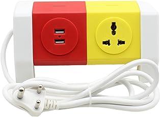 Impro 3 Plugs + 2 Usb Universal Multi Plug Points Adapter - 2.1A Usb Ports