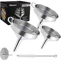 Philonext Ensemble d'entonnoir à filtre à cuisine, Ensemble de filtre en entonnoir en acier inoxydable de 3 pièces avec…
