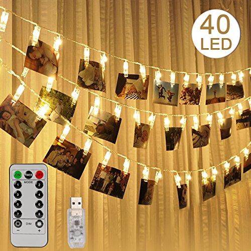 Foto Clip Lichterketten mit Fernbedienung, TAGVO USB Powered Warmes Licht LED-Foto-Clips für die Dekoration Hängende Fotos Bilder Karte Kunstwerke - 8 Light Modes & Timer, Geschenk für Hochzeit Geburtstag Party & Schlafzimmer (Hängende Karte Wand)