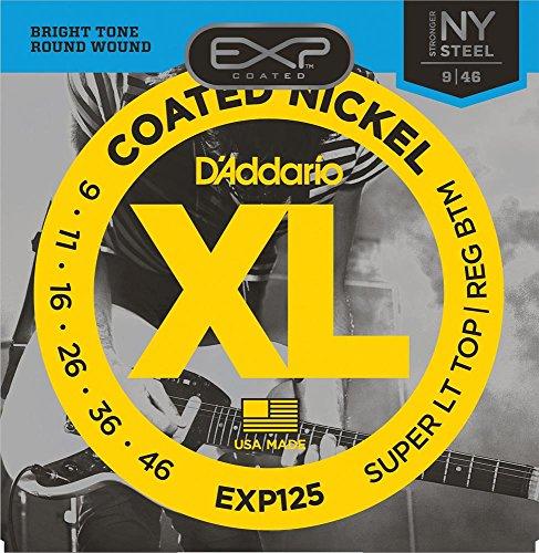 D'Addario EXP125 - Juego de Cuerdas para Guitarra Eléctrica de Acero y Níquel, 009' - 046, Transparente