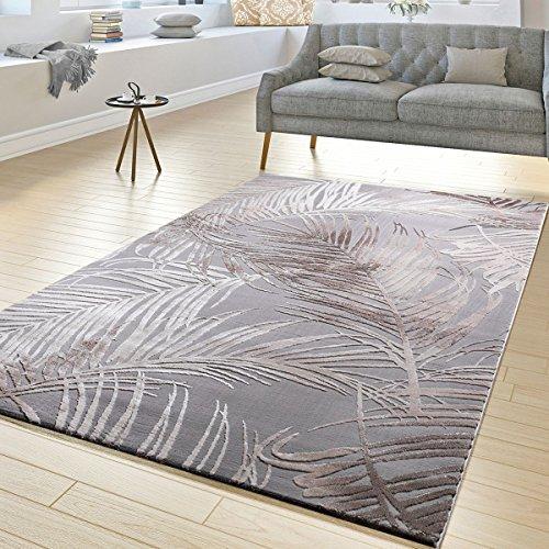 Tt home tappeto moderno tappeti per soggiorno struttura alto-basso design con palme in grigio beige, größe:200x290 cm