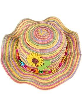 Leisial Colorato Cappello arcobaleno Bordo d'onda Cappello da sole della ragazza Cappello da spiaggia,52cm,Giallo