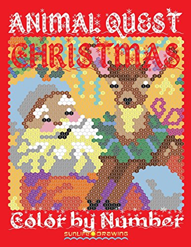 CHRISTMAS ANIMAL QUEST Color by Number: Activity Puzzle Coloring Book for Adults Relaxation & Stress Relief: Volume 5 (Quest Color By Number Books)