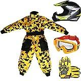 Leopard LEO-X19 Casco da Motocross per Bambini Off-road ECE 22-05 Approvato + Occhiali + Guanti +...