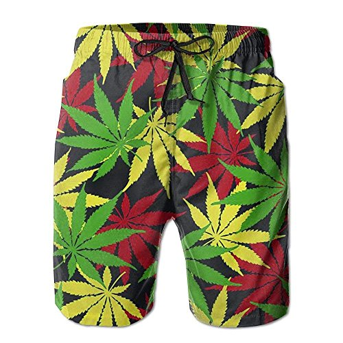 sunyly EEMNJIHH Herren Rasta Colors Unkraut Strand Shorts Badehose Cargo Shorts, XL (Rasta Herren Shorts)