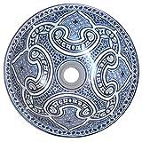 L'Orient Marokkanisches Keramikwaschbecken Azur 40cm | Handmade Handbemalt handgemacht handgetoepfert orientalisches Waschbecken