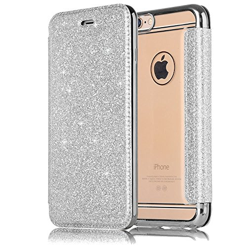 Sycode Custodia per iPhone 6S Plus 5.5,Silicone Cover per iPhone 6 Plus 5.5,Specchio Flip Custodia per iPhone 6S Plus 5.5,Lusso Oro a Libro Galvanotecnica Silicone Cristallo Trasparente Ultra Sotti Glitter,Argento