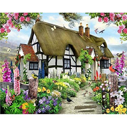 UPINT Benutzerdefinierte Tapeten Wunderschöne Pastorale Englische Land Cottage Rose Garden Kinderzimmer Tv Hintergrund Wandbild 3D Wallpaper -