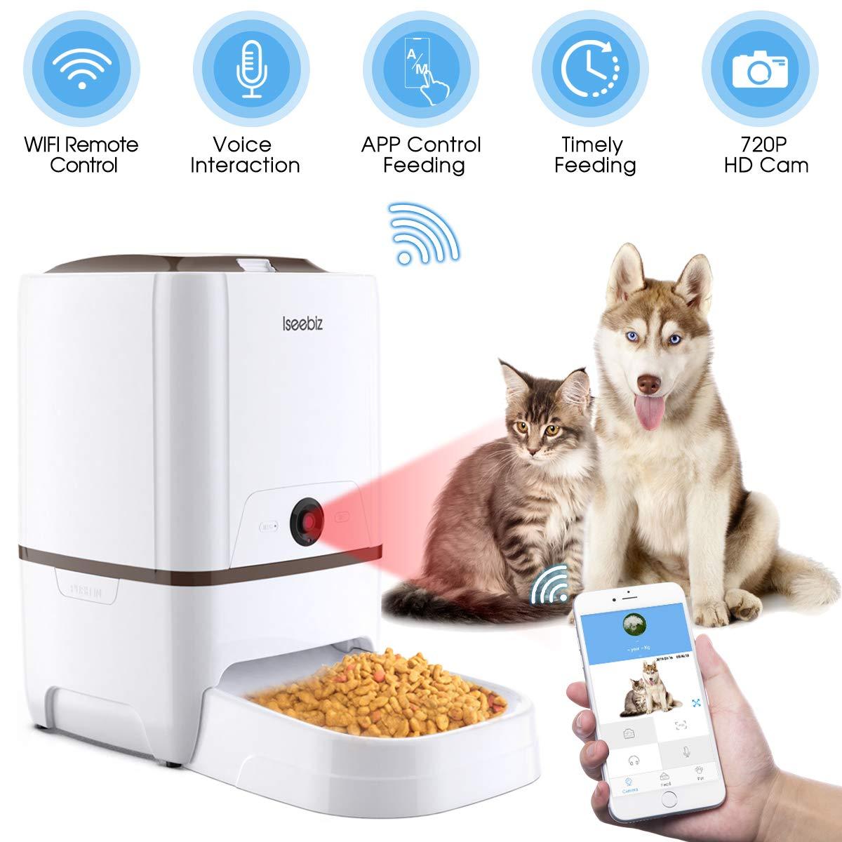 Iseebiz Comedero Automático Gatos/Perros con Cámara HD Dispensador de Comida WiFi con App Control ,Visión Nocturna