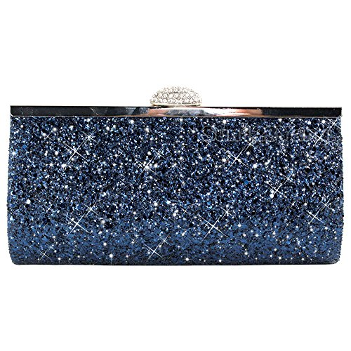 Wocharm Womens Silver Gold Bridal Prom Party Purse Sparkly Glitter Clutch Bag (Navy Blue)