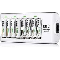 EBL Chargeur de Piles AA et AAA 8 Slots, avec 4pcs Piles Rechargeables AA 2800mAh et 4pcs AAA 1100mAh Ni-MH, Chargeur de…