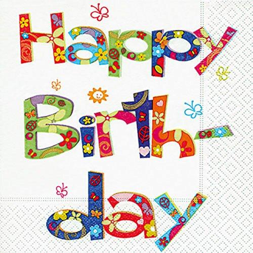 Serviette Servietten Geburtstag Happy Birthday Verschiedene Ausgefallene Motive zur Auswahl Edel 33x33 cm 20 Stück 3-Lagig (Serviette Happy)