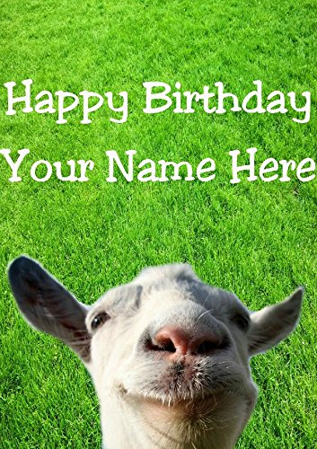 Funny Goat hs150 In The Garden Fun Cute Happy Birthday A5 Personalised Greeting card POSTED BY