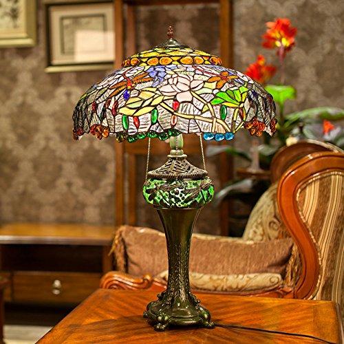 WEITING Amerikanisches Land kreatives Bild Glas Tischlampe / Mittelmeer klassische Tiffany-Stil Libelle Lotus Lampe Wohnzimmer - Klassische Tiffany-tischlampe