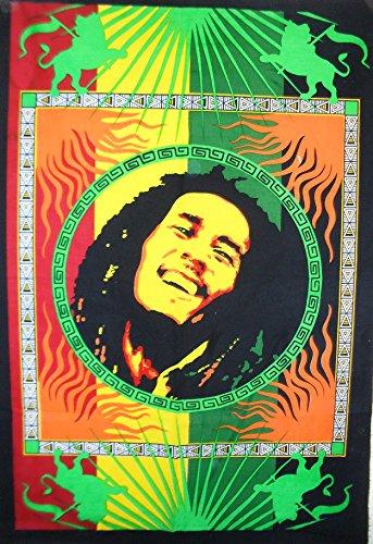 Traditionelle Jaipur Bob Marley Tapisserie, Twin Hippie Wandbehang, indische Baumwolle Tagesdecke, Boho Schlafsaal, Zimmerdekoration Gypsy Beach Überwurf Decke