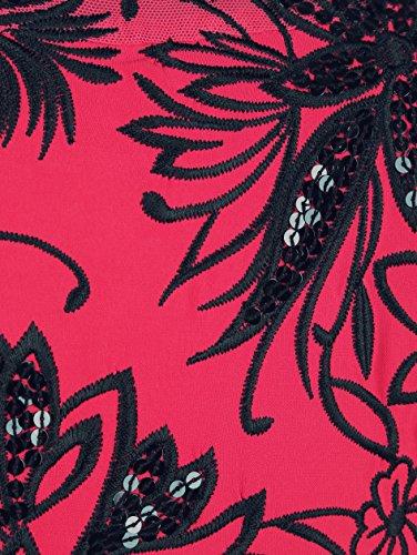 Damen Edelshirt mit Blumenstickerei by KLiNGEL erdbeere/schwarz