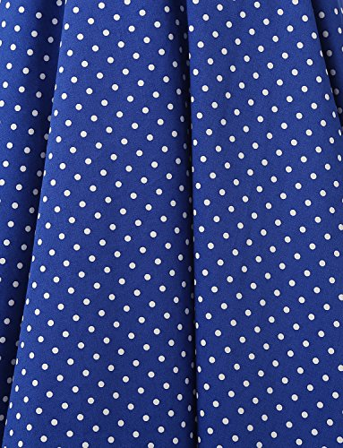 Dressystar Robe de bal Polka Vintage pin-up à Audrey Hepburn 50s 60s Rockabilly Halter,dos nu, à pois Bleu Saphir