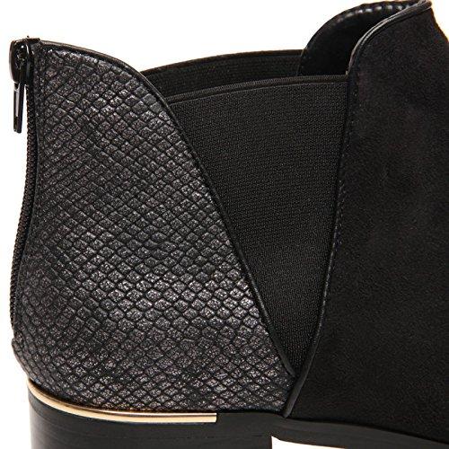 La Modeuse - Bottines Chelsea grandes taillesen simili daim, doté d'un empiècement brillant effet peau de croco Noir