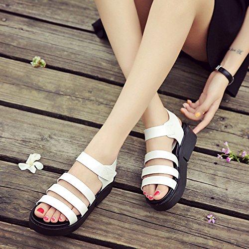Estate moda donna sandali comodi tacchi alti,34 nero White